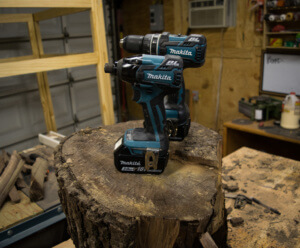 The Makita XT 248 brushless drill driver combo.
