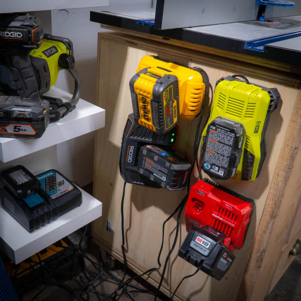 dewalt ryobi milwaukee ridgid makita chargers first order retrievability and shop organization.