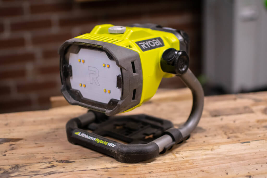 the new Ryobi 18-Volt ONE+ Hybrid LED Color Range Work Light