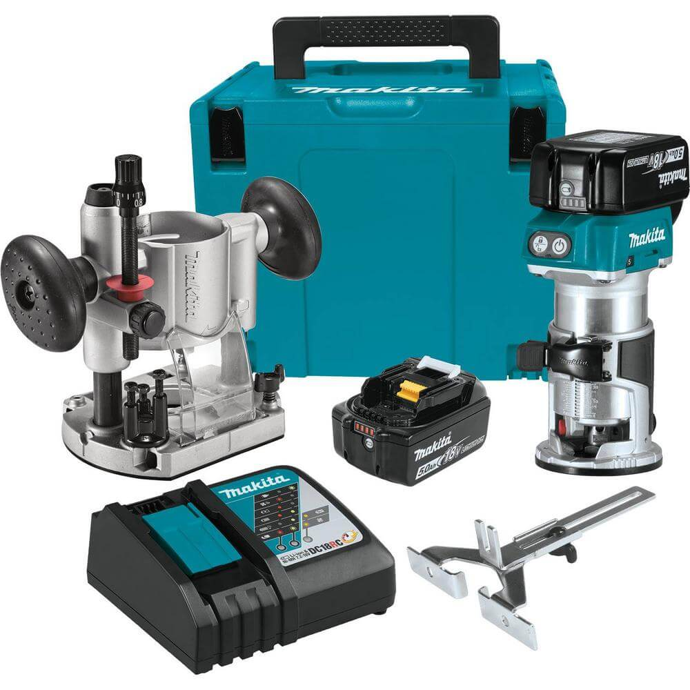 makita cordless router optional plunge base