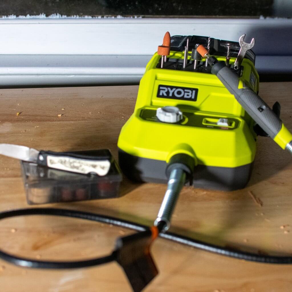 Ryobi cordless rotary tool kit.