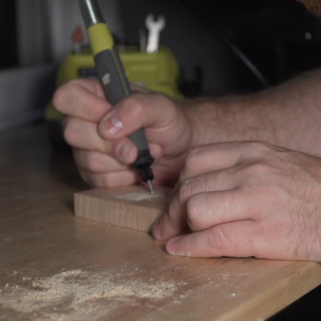 Ryobi cordless rotary tool in action.