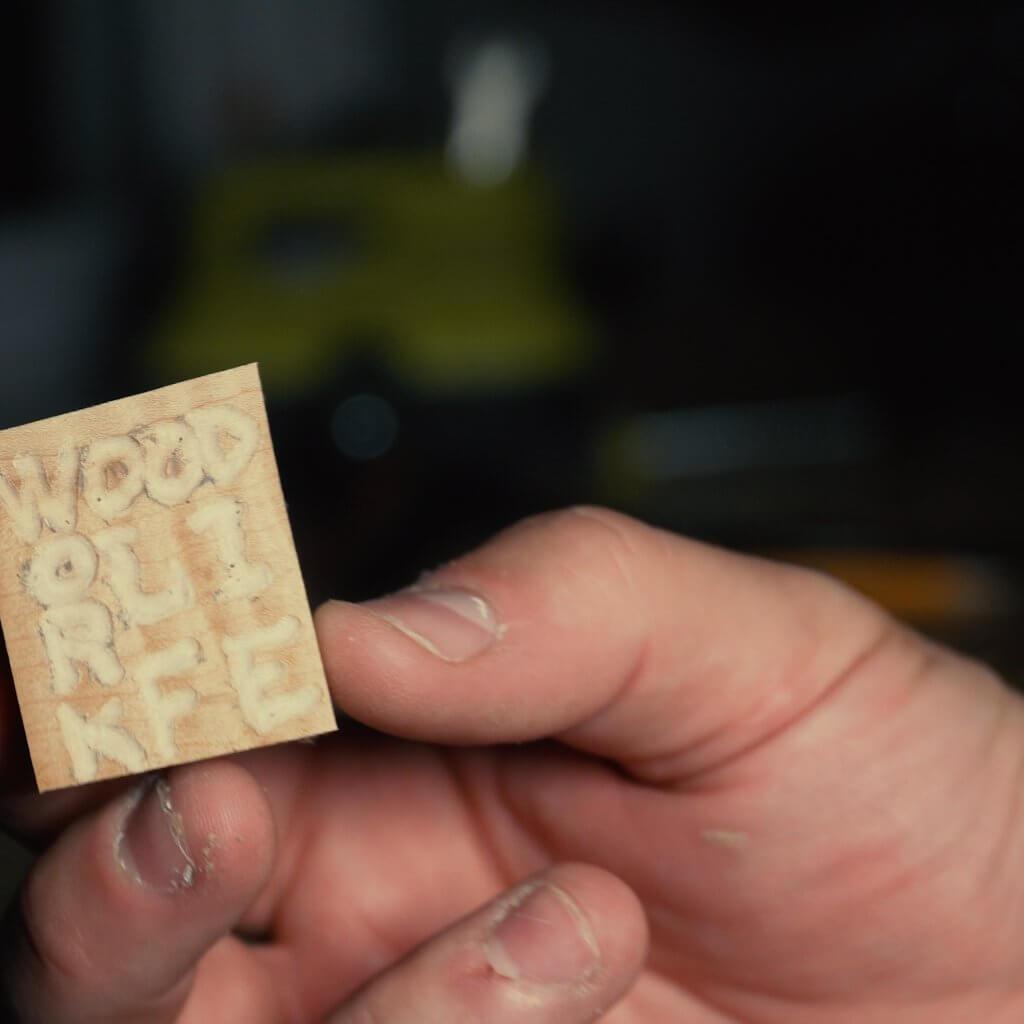 Small WoodWorkLIFE logo made iwth Ryobi cordless rotary tool.